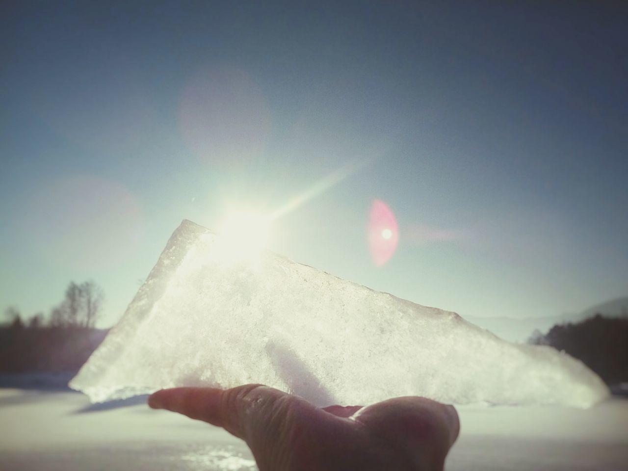Block Of Ice Polygon Sun Glare Close Up Winter Landscape In Hand