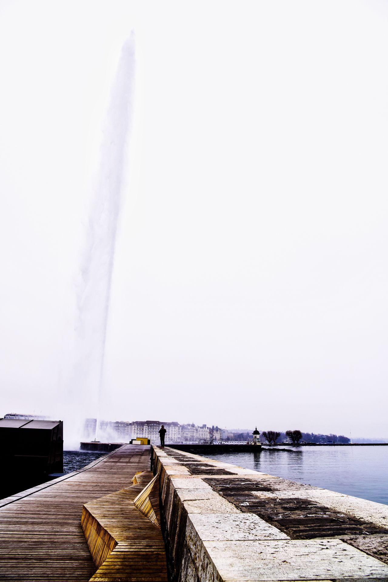 Jet d'eau Day Freshness Geneva Horizon Over Water Mountain Water Switzerland City Outdoors