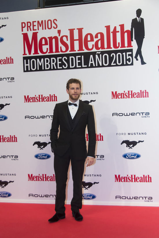 Álvaro Cervantes, actor, won the TV Actor award seen here during the photocall for the Men's Health Man of the Year 2015 Awards (Premios Hombres Del Año 2015). Madrid, Spain 28th January 2016. Men's Health Awards 2015 Actor Awards Celebrity Editorial  Front View Man Photocall Real People Red Carpet Standing Vip White Background Young Adult Young Men