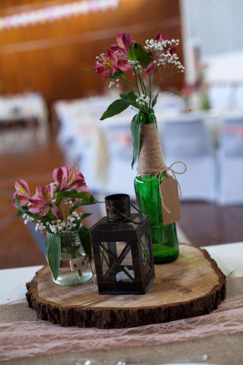 flower, vase, table, indoors, wood - material, no people, green color, close-up, day, nature, freshness