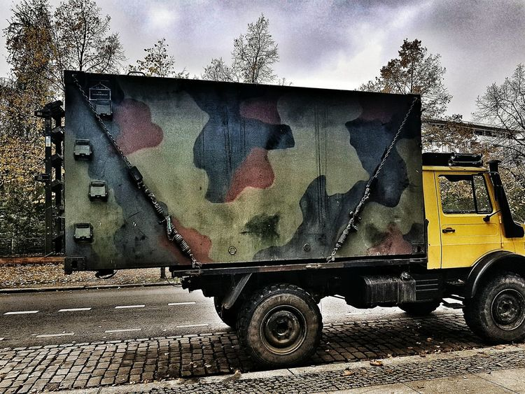 Transportation Mode Of Transport Land Vehicle Metal Old-fashioned No People Outdoors Day Horizontal Steam Train Sky Military Military Truck Automobile