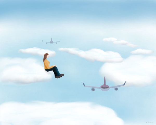 Sitting on a cloud and counting planes - my new digital painting, created with Sketchbook pro for Android Cloud - Sky One Woman Only Digital Painting Digital Art MYArtwork❤ Surrealism Surrealist Art