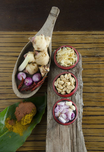 Thai ingredients and herb on wood texture. Herb Ingredients Yellow Curry Powde Chili Peppers Day Directly Above Food Food And Drink Freshness Garlics Ginger Healthy Eating Indoors  No People Onions Ready-to-eat Shrimp Paste Vegetable Wood Texture Background