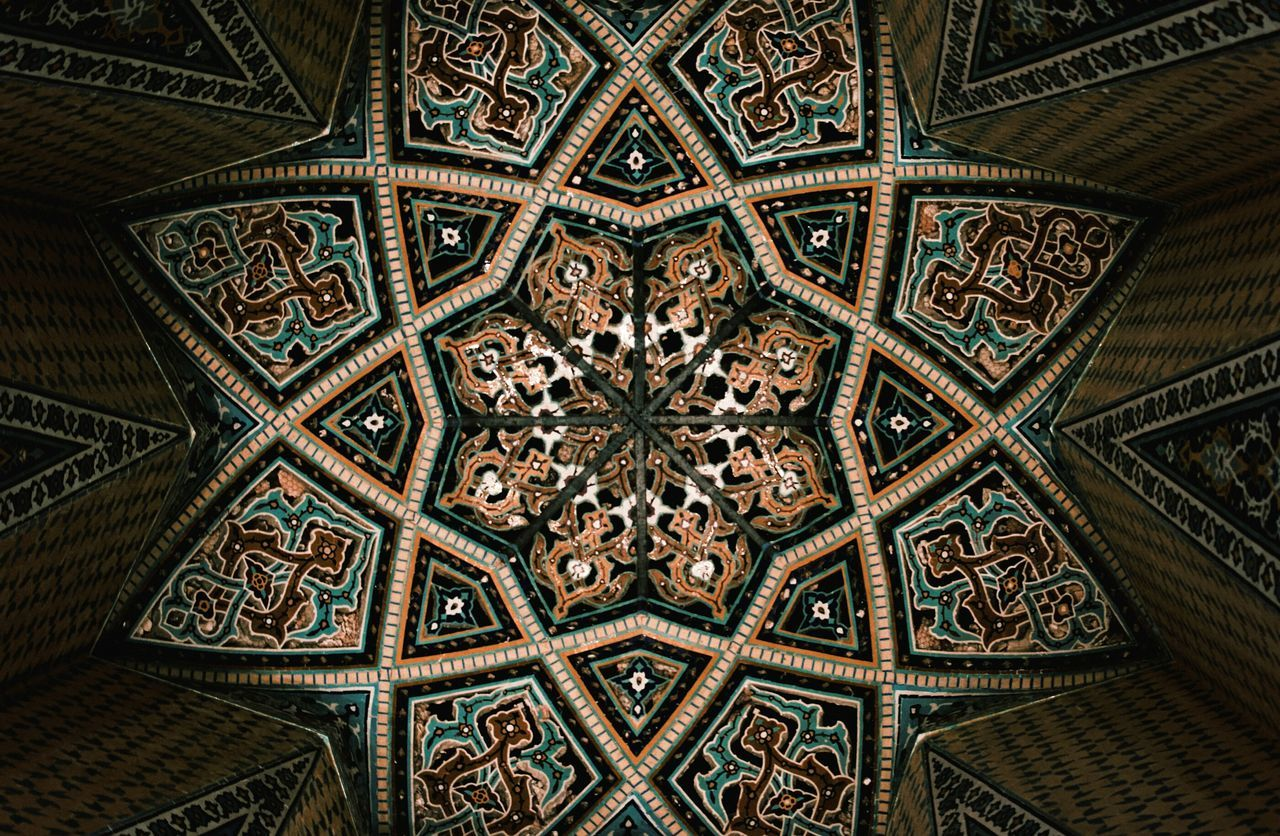 Complex Persian mosaic patterns at ceiling of the tomb of Baba Tahir in Hamadn. Ceiling Indoors  Architectural Feature Architecture Built Structure Spirituality Design Architectural Design Persian Persia Tomb Historic Tourism Architecture Hamedan Baba Taher Baba Tahir The Magic Mission
