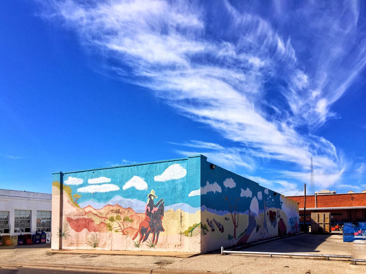 Sky Built Structure Sunlight Architecture Outdoors Cloud - Sky Day Building Exterior No People Mural Art Westtexasskies Western Scene Texas Landscape Texas Skies City Light