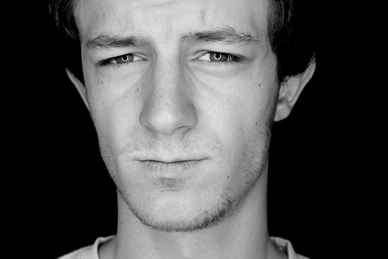 Adult Black Black Background Blackandwhite Close-up Emotion Eye Front View Headshot Human Face One Man One Person Portrait Sad Sadmess Tearful Young Adult