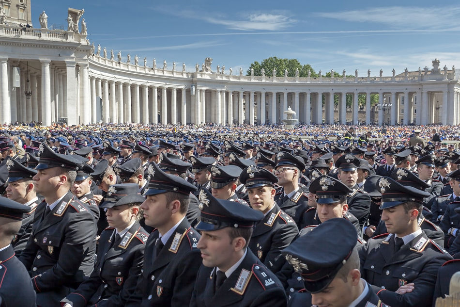 Rome, Italy - April 30, 2016: Police in uniform lined up in St. Peter's Square, on the occasion of the Jubilee of the armed forces. Day Deployment Uniform  Giubileo2016 Lifestyles Military Police People Place St. Peter's Square Uniforms