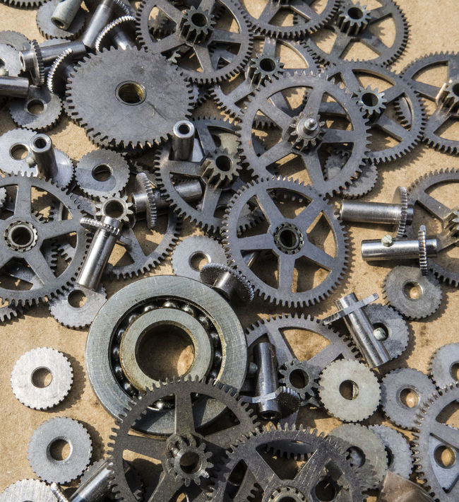 Gears for sale at a flea market Abundance Close-up Full Frame Gear Iron - Metal Large Group Of Objects Machine Part Man Made Object Variation