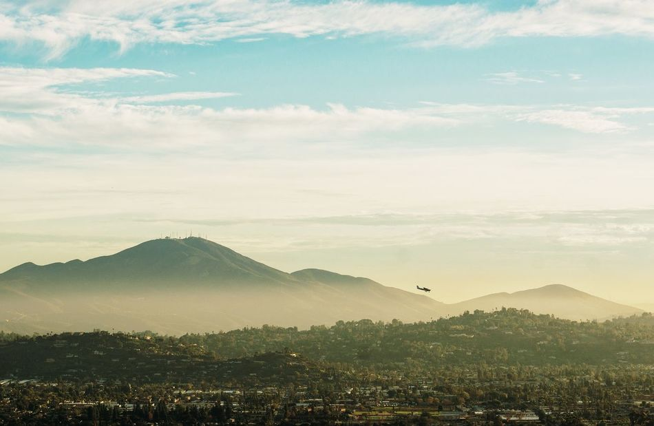 Landscape Cloud - Sky Sunset Mountain No People Flying Sky Outdoors Dramatic Sky Scenics Beauty In Nature Urban Skyline Day Mountains Plane Airplane Golden Hour Wide Angle Nature Photography Nature EyeEmNewHere