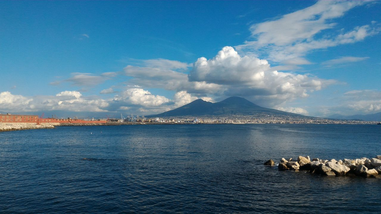 No Filter, No Edit, Just Photography Water Sky Day Nature Beauty In Nature Vesuvio Italy🇮🇹 Sea Sea And Sky Swimmers In The Sea Nature Napoli Naples Naples, Italy Mountain Landscape Cloud - Sky Reflection Scenics No People Outdoors