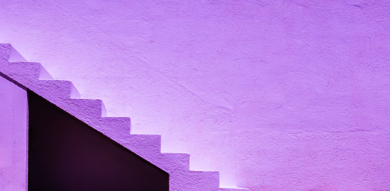 Abstract Architecture Backgrounds Building Exterior Built Structure Close-up Day Minimalism Minimalist Architecture Minimalistic No People Outdoors Pink Color Purple Stairs Stairway Steps Steps And Staircases Millennial Pink