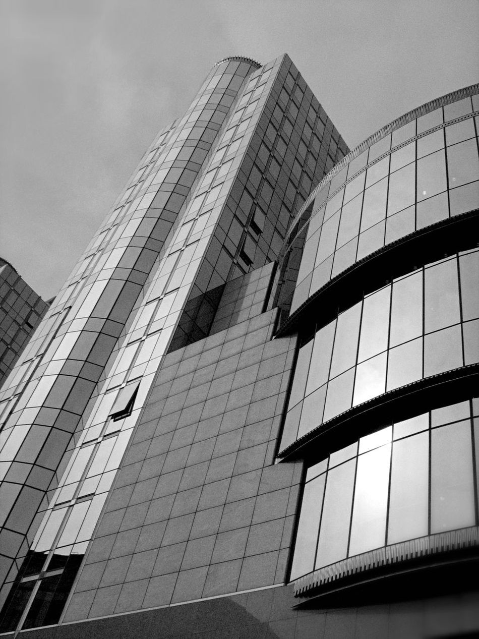 2008 Architecture Belgium Blackandwhite Brussels Building Exterior Built Structure City City Life Day Low Angle View Modern No People Office Block Outdoors Sky Skyscraper Space