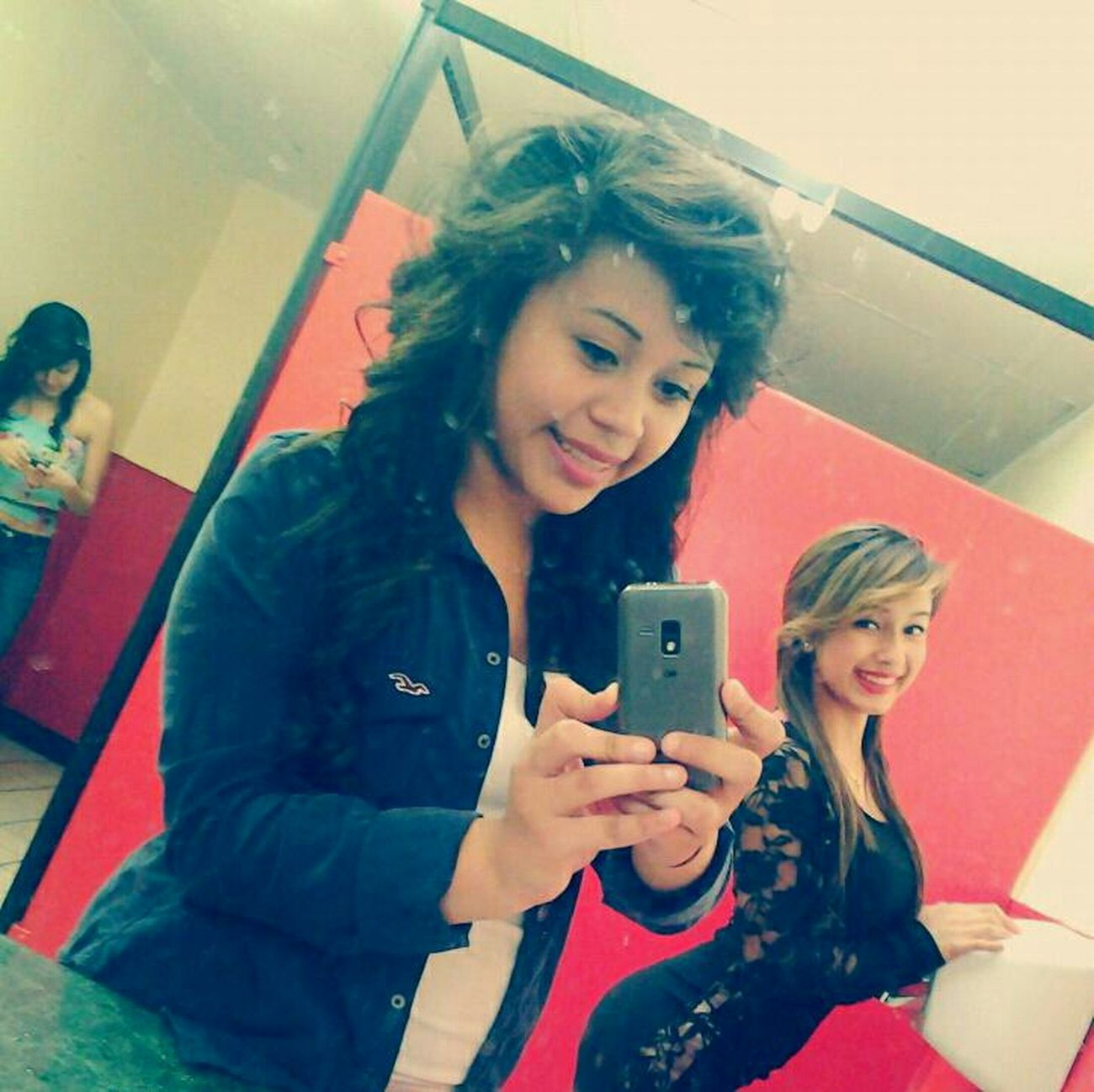 Dirty mirror .-. With silvia last night (: