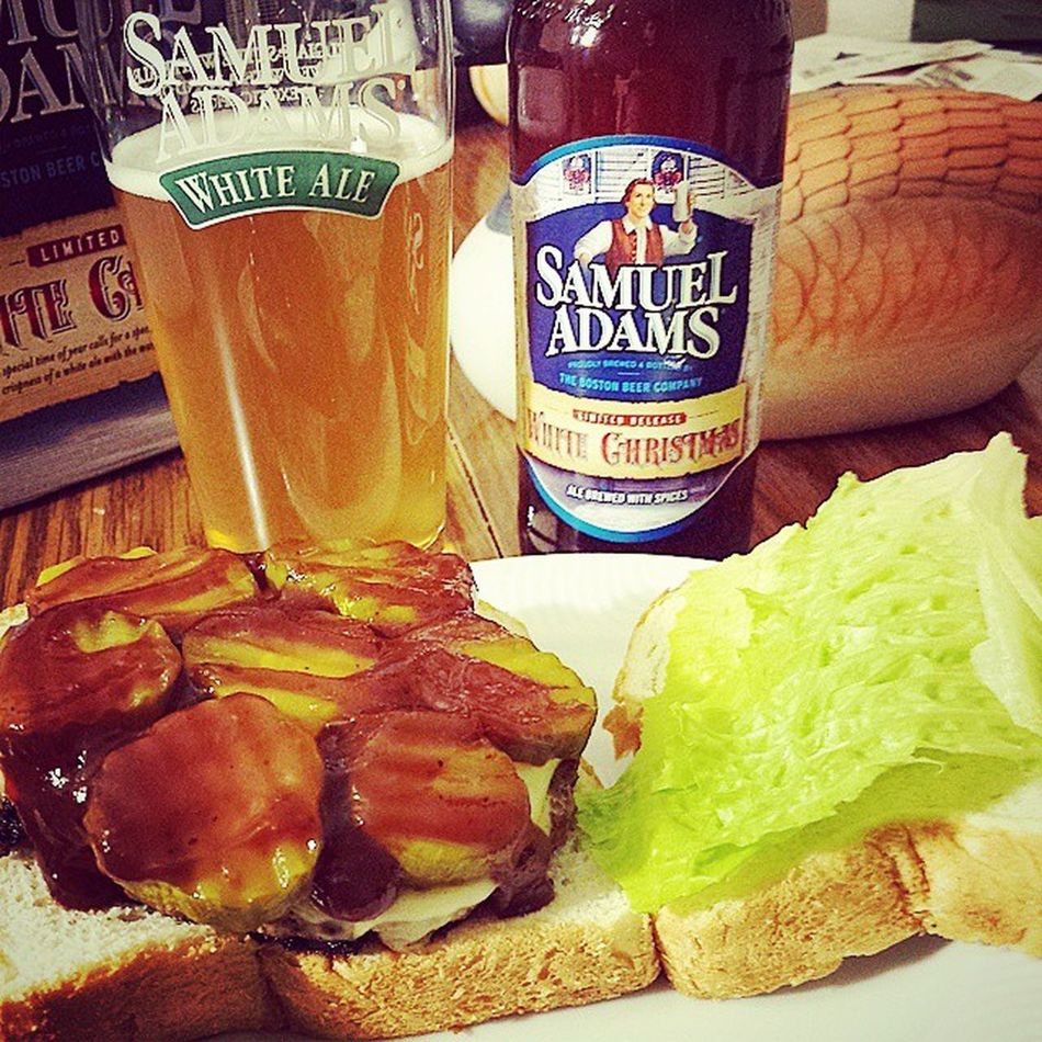 An early white Christmas and a delicious BBQ cheeseburger = the shiznit Samueladams Alwaysagoodchoice CheeseBurger Whitechristmas Seasonal Craft Beer Craftbeer Craftbrew Pickles Gourmet Wheat Delicious Dinner Goose Canadianduck Misrepresentation