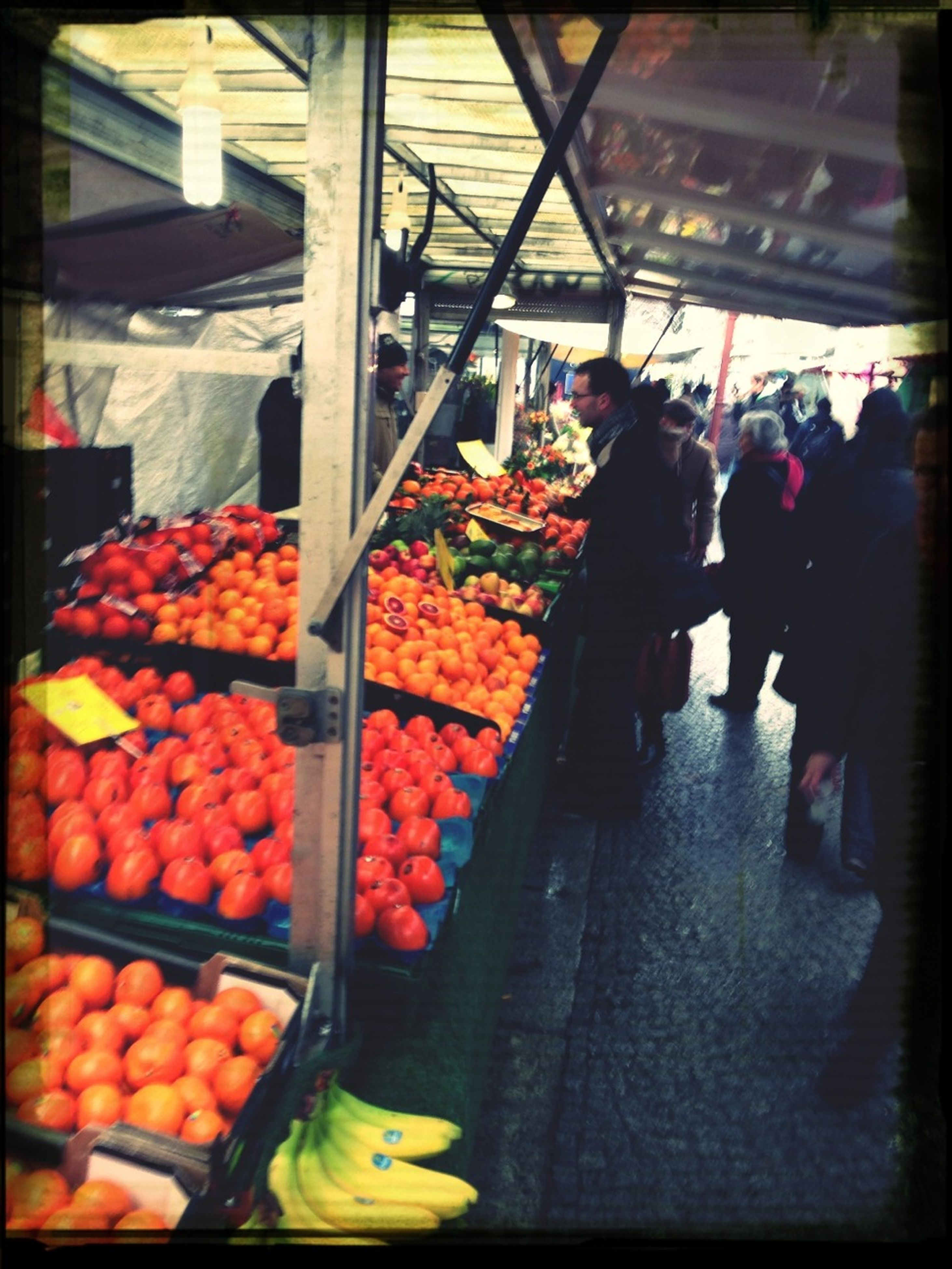 food and drink, retail, food, men, market, market stall, fruit, for sale, person, freshness, lifestyles, abundance, large group of objects, healthy eating, indoors, incidental people, choice, shopping, transfer print