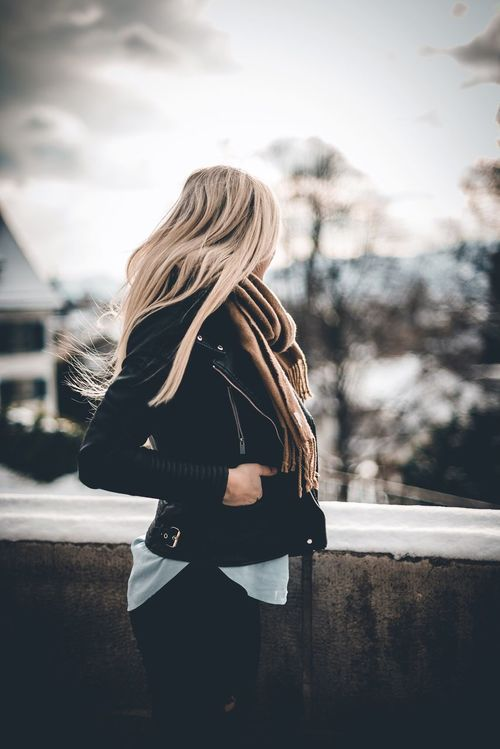 Where are you now? One Person Blond Hair Young Adult Women Beautiful Woman One Woman Only Only Women Beauty Lifestyles Outdoors Leisure Activity Real People Adults Only One Young Woman Only Sky Young Women City Day Adult Winter Zürich Leatherjacket