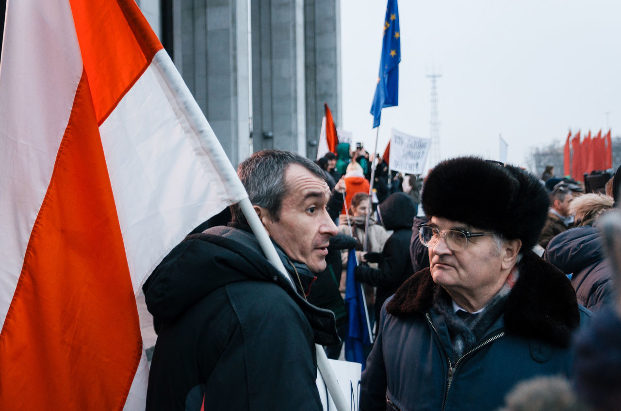 Minsk, Belarus - February 17, 2017 - Belarusian people participate in the protest against the decree 3 'On prevention of social parasitism' of President Lukashenko in the center of Minsk Adult Adults Only Choice Citizenship Community Flag Patriotism People Politician Politics Politics And Government Protest Protesters Responsibility