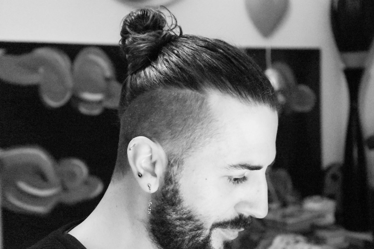 Acconciatura Beard Black And White Photography Boys Casual Clothing Close-up Codino Cute Day Focus On Foreground Hair Style Haircut Headshot Human Face Leisure Activity Lifestyles Menstyle Mustache Nouse Pearcing Portrait Profile Selective Focus