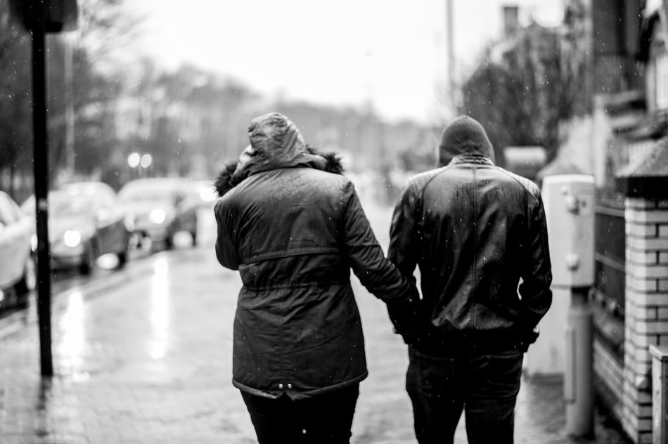 Winter Love. Adult Adults Only Couple Day Focus On Foreground Friendship From The Back Love Outdoors People Rain Real People Rear View Togetherness Two People Walking