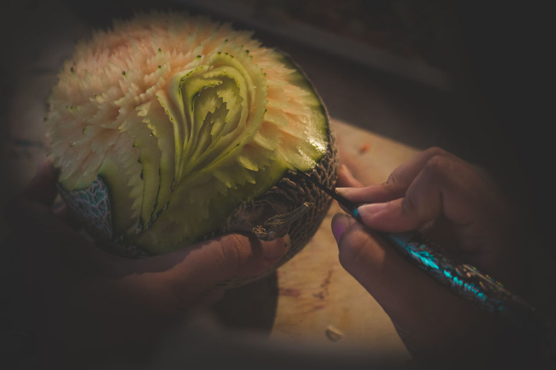 Flower Art Of Food Arts And Culture Asian Culture Cantaloupe Close-up Engraving Food Freshness Fruit Human Finger Indoors  Inwrought Refined Thaiculture Spotted In Thailand