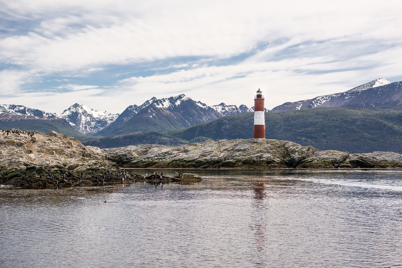 Lighthouse Les eclaireurs in Beagle Channel near Ushuaia Andes America Argentina Beacon Beagle Canal De Beo Channel Coast Fuego Island Land Of Fire Landmark Landscape Les Eclaireurs Lighthouse Lighthouse Ocean Patagonia Rock Sea Tierra Tierra Del Fuego Ushuaïa Water