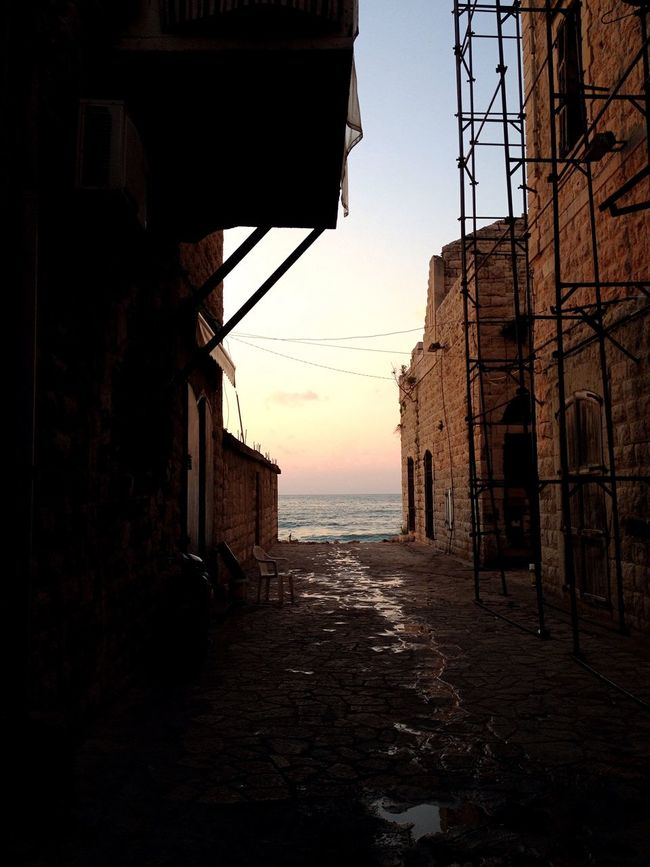 Dusk In The City Man And Nature East Mediterranean Lebanon Scaffolding
