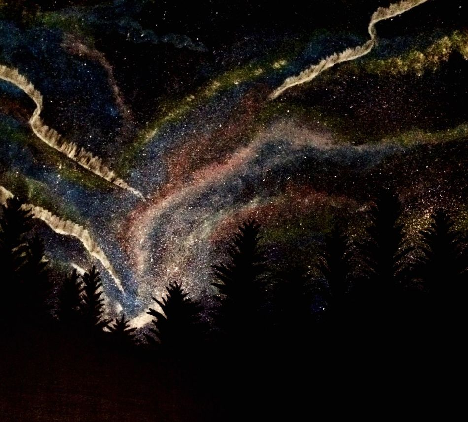 Galaxy Night Beauty In Nature Star - Space Outdoors Sky Nature Astronomy Milky Way No People Drawing - Art Product My Painting Multi Colored Cloud - Sky Art Sitting Outside Looking At Trees.