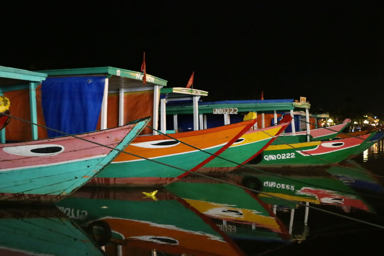 Boats at night Art Boat Boats Boats And Water Colouful Craftsmanship  Culture Fisher Boats Fishing Boat Harbour Hoi An Multi Colored Night No People Outdoors Reflections Reflections In The Water Sea Summer Night Traditional Travel Vietnam Vietnamese Water Reflections