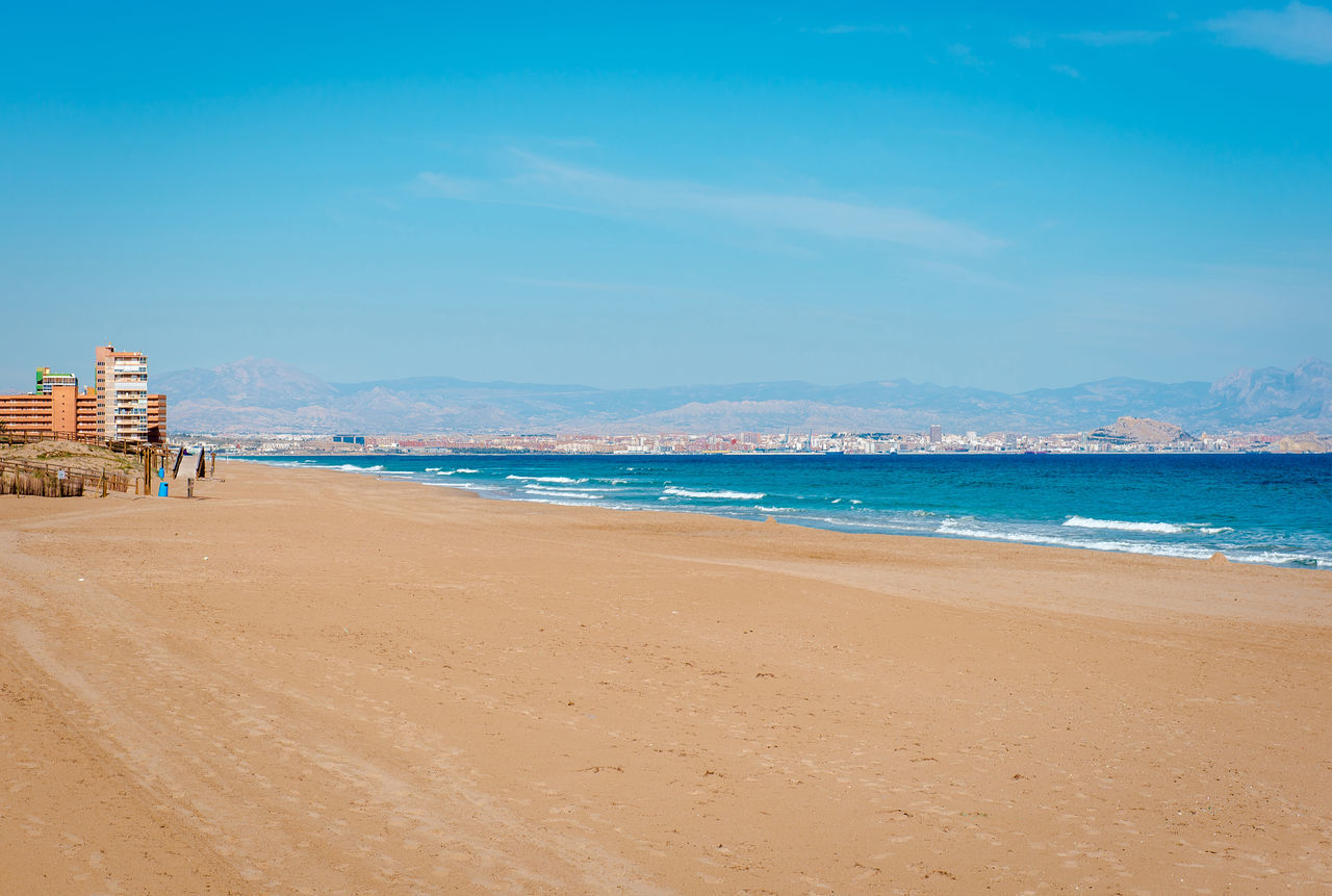Los Arenales del Sol beach. Alicante province, Costa Blanca. Spain Alicante, Spain Beach Beauty In Nature Coast Coastline Costa Blanca Day Elche Europe Landscape Los Arenales Del Sol Mediterranean Sea Nature No People Nobody Outdoors Sand Sea Seashore Shore Sky SPAIN Sunny Town Travel Destinations