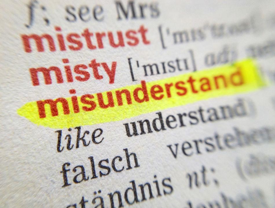 Book Close-up Communication Dictionary English German Message Misunderstand Misunderstanding No People Page Text Translation Western Script Word