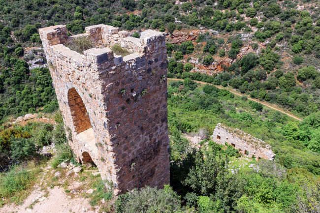 Watchtower of the castle Monfort in northern Israel Ancient Architecture Architecture Built Structure Castle Crusaders Cultures Famous Fort History Israel Leading Medieval Monfort Old Old Ruin Outer Remains Ruined Stone The Past Tourism Tower Travel Destinations Watchtower