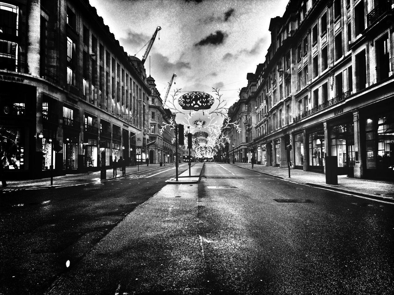 Regent Street early on New Years Day. Blackandwhite NewYearsDay Regentstreet Deserted