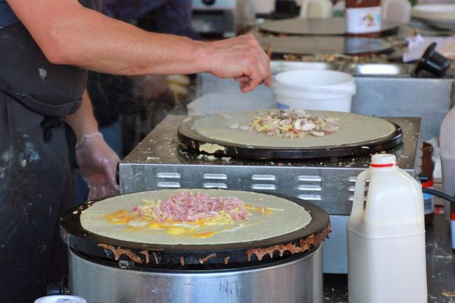 Making crepes, adding ingredients Freshness Food And Drink Food Healthy Eating Preparing Food Preparation  Cooking Chef Preparing Meal Small Business Ingredient Crêpes Pancakes Street Food Kitchen Working Hands Hotplate Food And Drink Establishment People And Places The Color Of Business