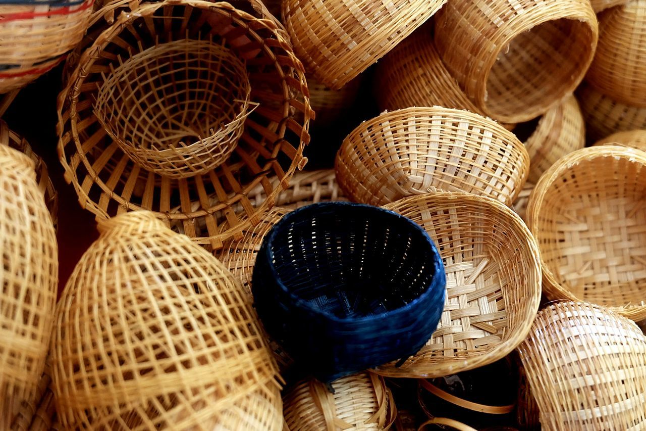basket, whicker, art and craft, bamboo - material, variation, no people, indoors, day, close-up