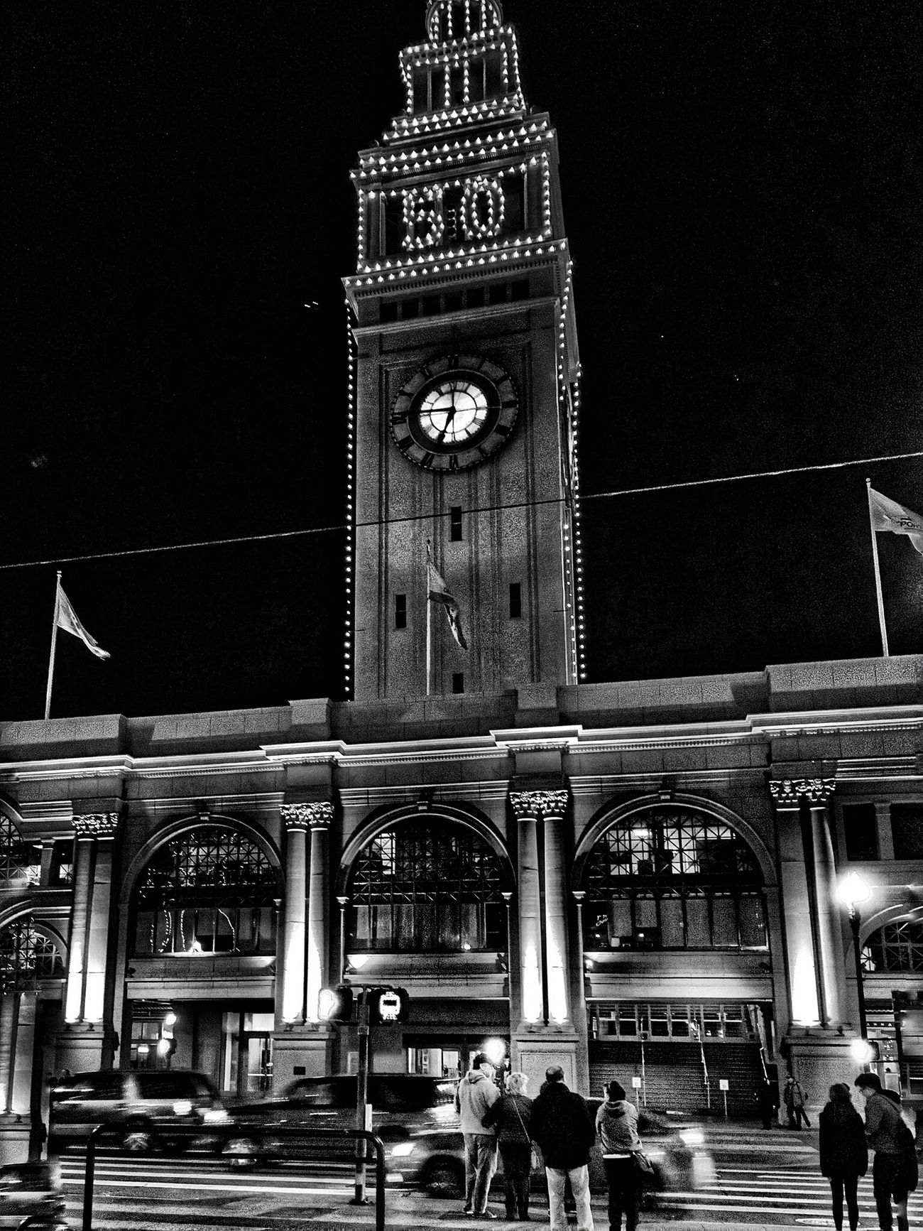 Clock Tower Architecture Building Exterior City City Life Outdoors Night Photography Night Lights Cityscapes Street Light Monochrome Blackandwhite Photography Black & White Black And White Blackandwhite Night Street Streetphotography StreetsWithPeople Architectural Detail Architecture