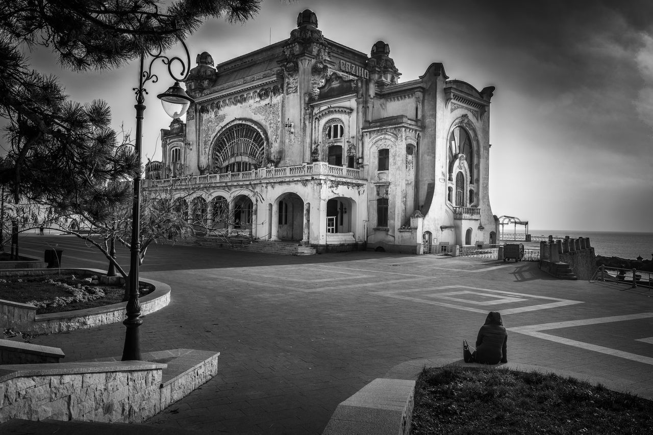 Architecture Black And White Black And White Street Photography Building Exterior Building Story Casino Cityscape Constanta History Architecture Hystorical Centre Loneliness Loneliness All Around Me Loneliness And Sadness Loneliness In A Picture Loneliness Old Age. One Person Outdoors Romania Spirituality Travel Destinations