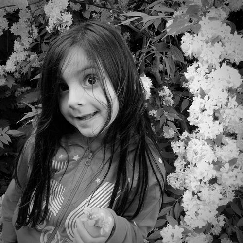 Children Flowers Black And White