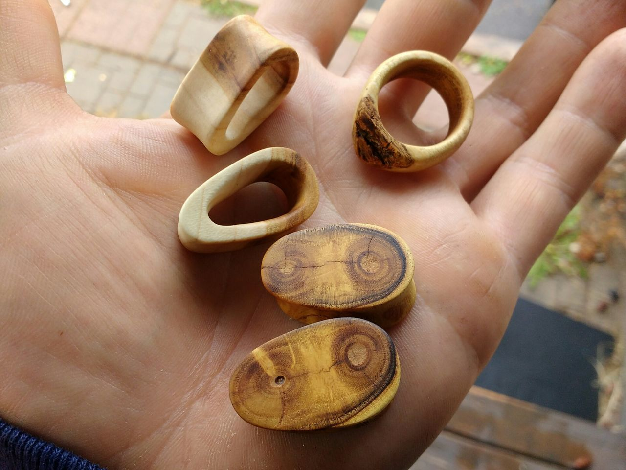 Handmade Mulberry and Cherry wood ear gauges and Mulberry ring. Close-up Human Hand Wood Wood Jewelry Ear Gauges Gauge Ring Mulberry Cherry Wood Plugs Popular Jewelry Wood - Material Woodworking Handmade Gauges Eye4photography  Canada Coast To Coast Eyeem Collection