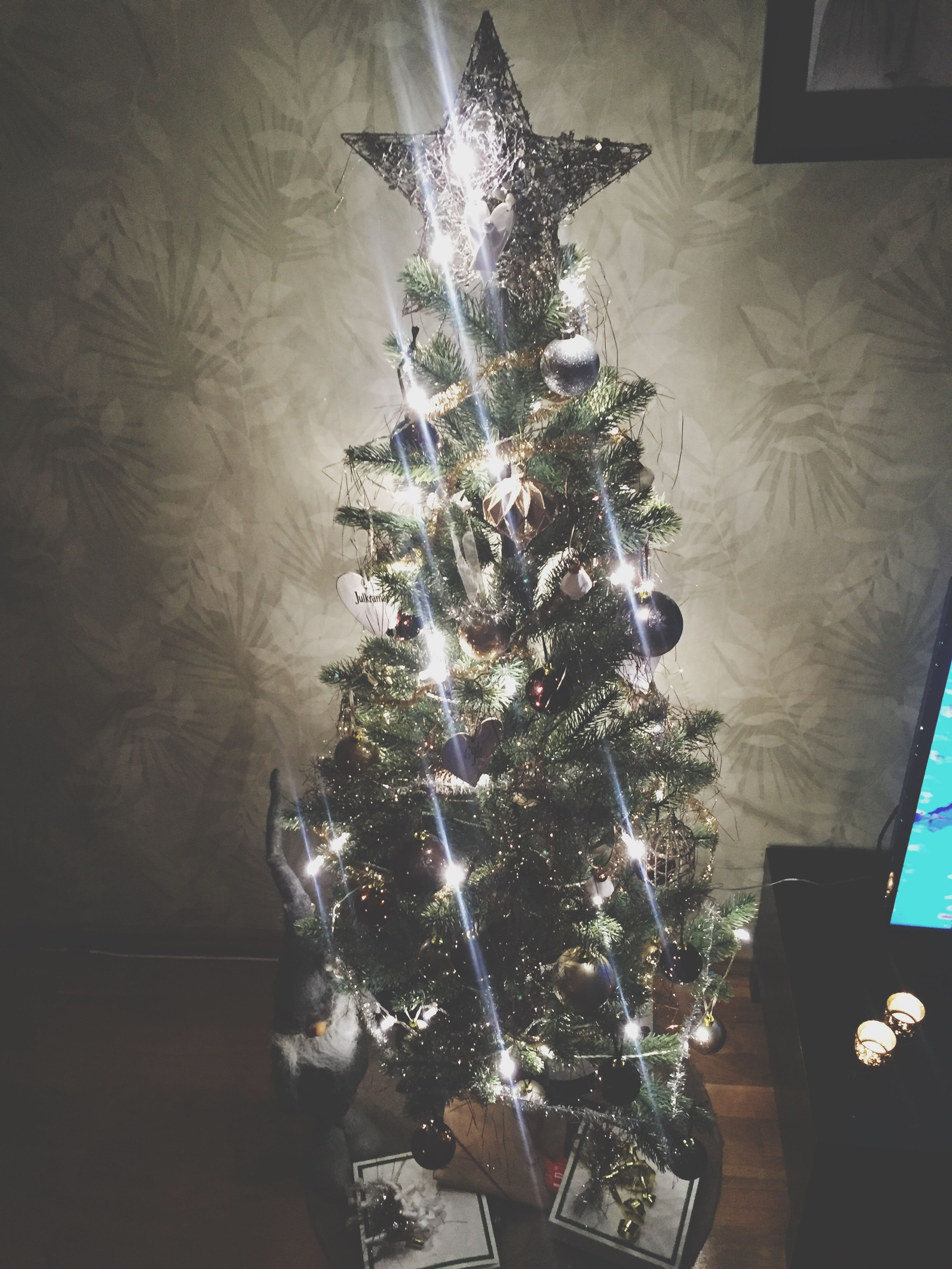 indoors, illuminated, lighting equipment, decoration, hanging, ceiling, table, light - natural phenomenon, home interior, night, high angle view, decor, low angle view, no people, celebration, chandelier, christmas decoration, large group of objects, electric light, christmas