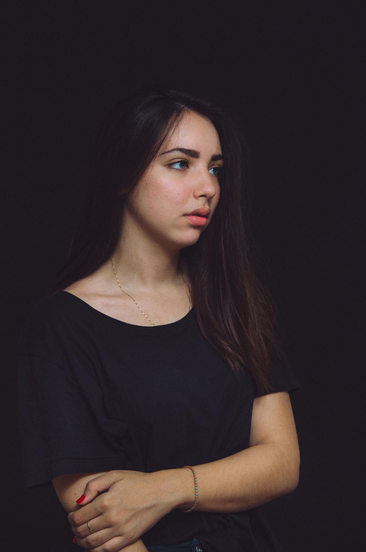 Beautiful stock photos of black background, 18-19 Years, Beautiful Woman, Beauty, Black Background