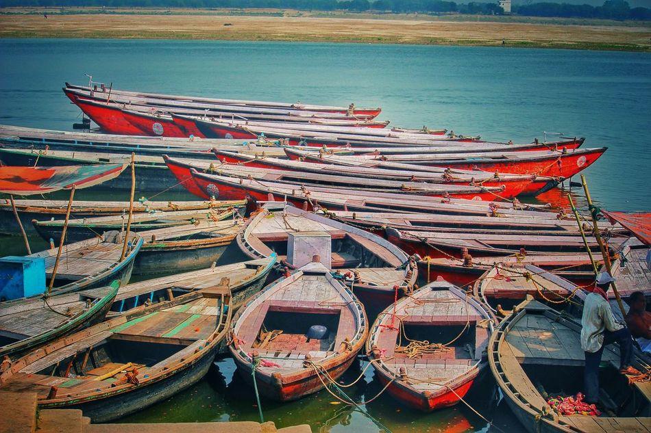 VARANASI Water Transportation Moored Nautical Vessel Outdoors No People Nature Day Sea First Eyeem Photo Architecture Travel Destinations Varanasi India People 💪✌