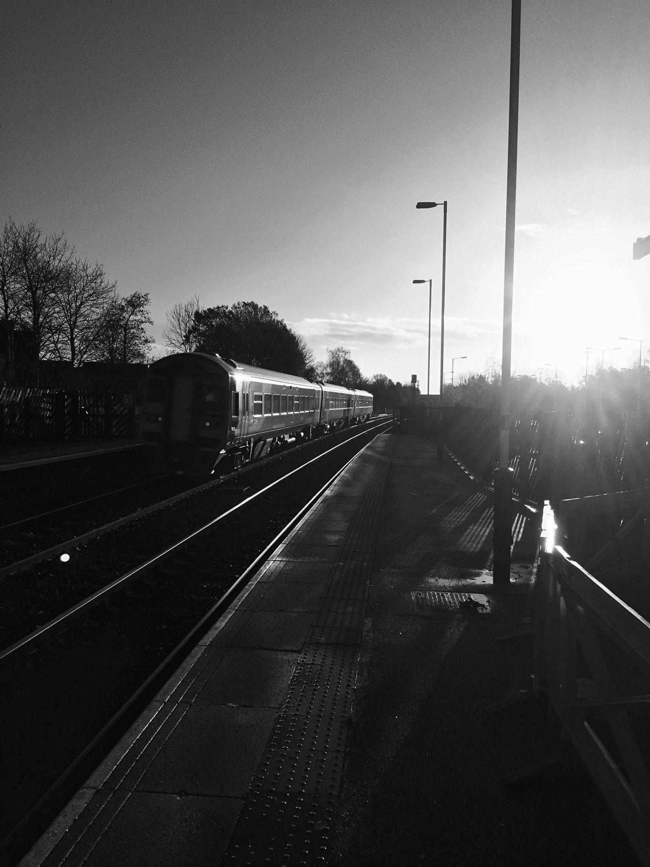 Blackandwhite Train at Garforth Station Cold Days