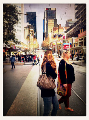 People watching at Bourke Street Mall by Ellen