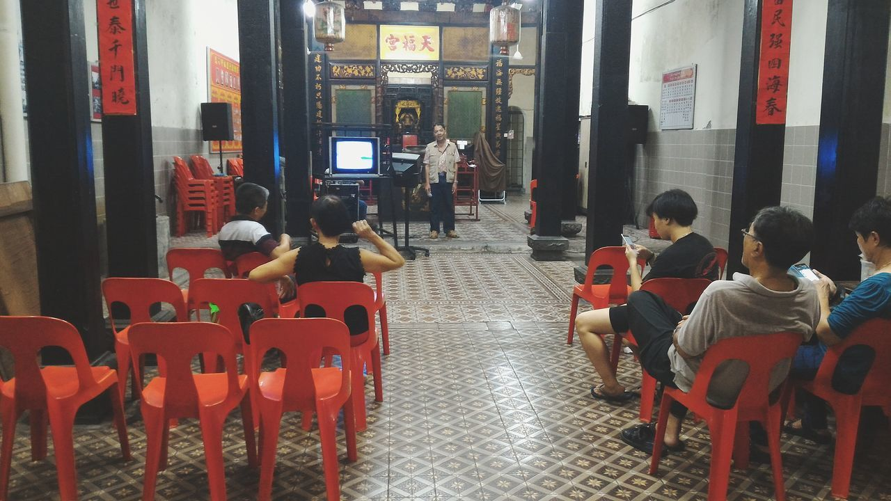 Group Of People Lifestyles Men Night Photography Night Street Light Streetphotography Outdoors Chinese Temple Person Togetherness Singing Malaka Malaysia
