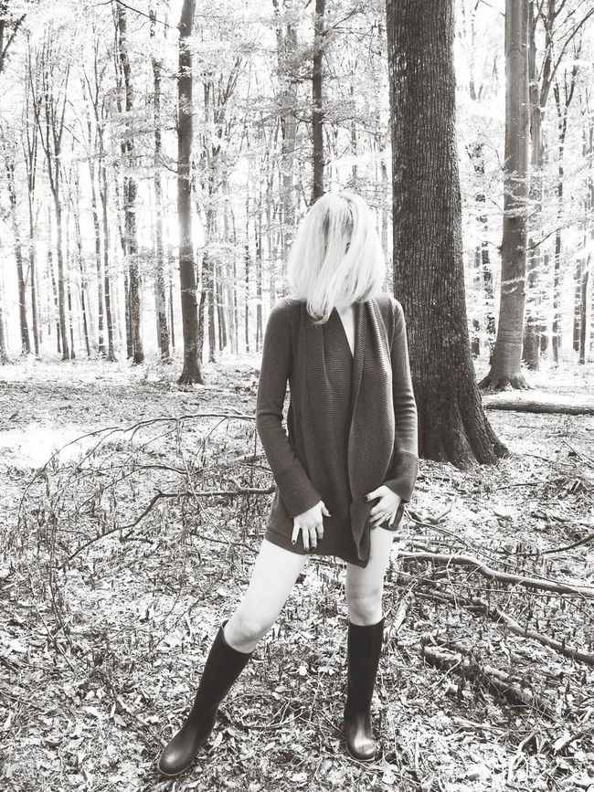Long Hair Fashion Portrait Forest Trees Tree Trunk Fashion&love&beauty EyeEmNewHere Beautiful Woman The Week On EyeEm Lifestyle Blonde Woman Woman Portrait Female Portrait Female Model Beauty Human Legs Forest Forest Art Hair In Face Deep Into The Forest Hiding From The World Black And White Friday