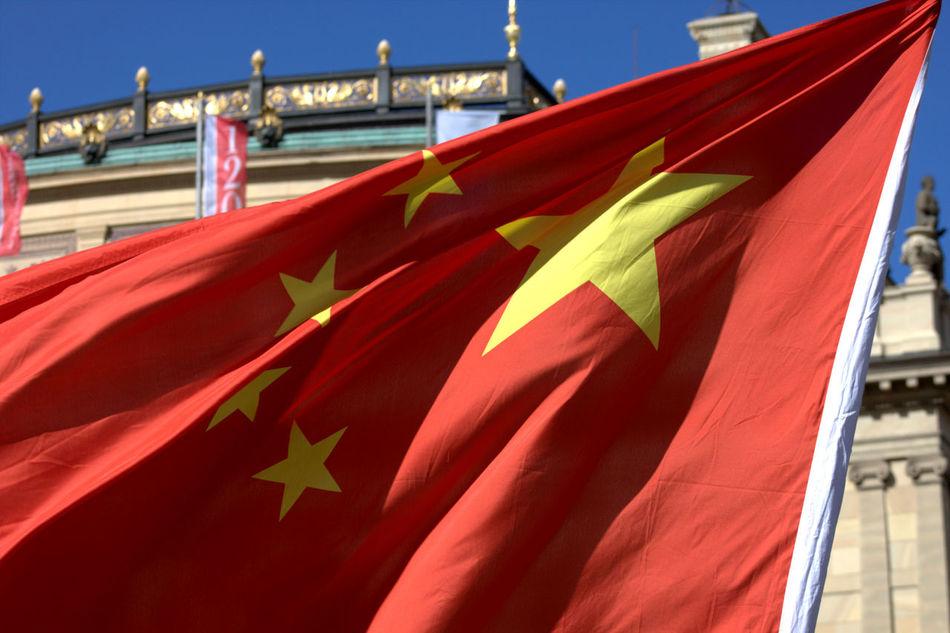 Chinese Flag Chinese Visit Prague Czech Flag Czech Republic Flag Freinds Friendship Red