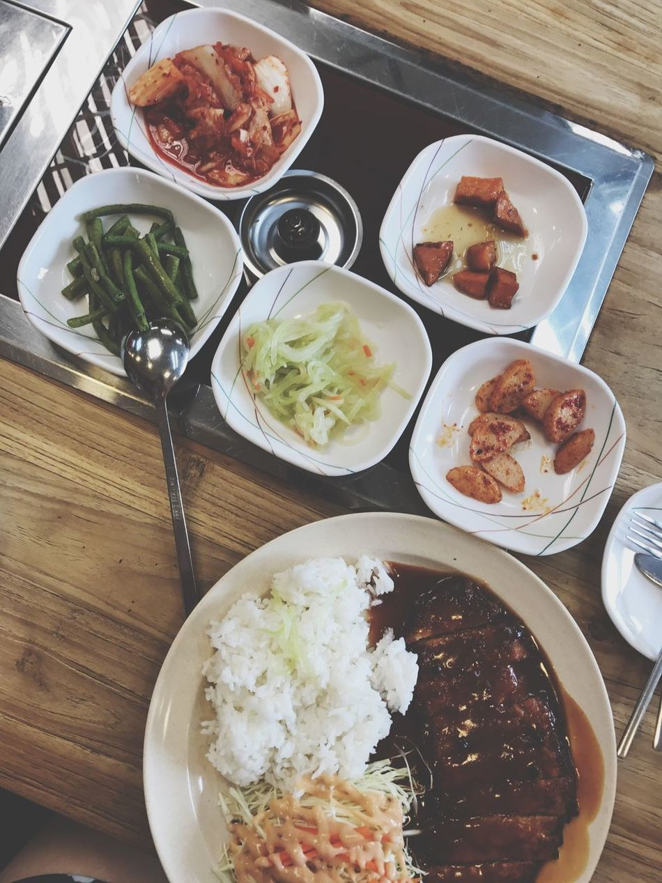 Korean Korea Food Side Dish Food And Drink Food Table Plate Ready-to-eat Indoors  Freshness Bowl High Angle View Meat Serving Size Meal Mashed Potatoes No People Healthy Eating Day Wood