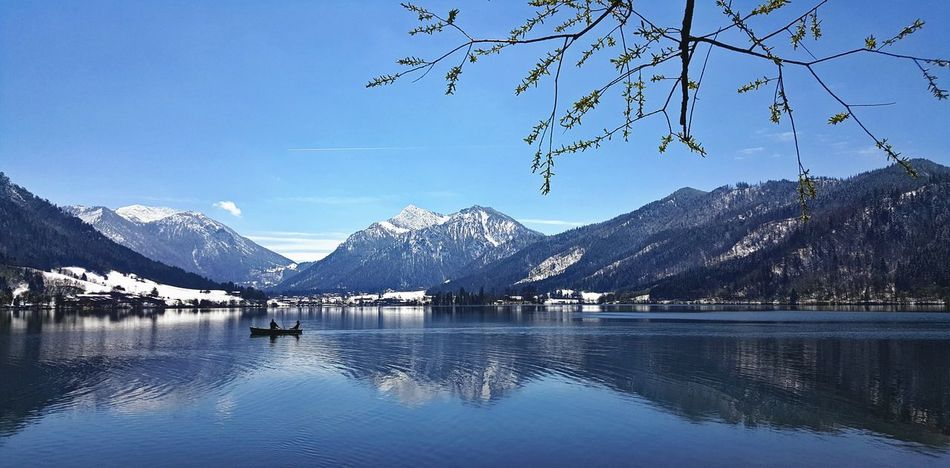 Mountain Mountain Range Snow Scenics Lake Beauty In Nature Nature Sky Blue Tranquil Scene Reflection Winter Snowcapped Mountain Germany Bavarian Landscape Schliersee, Bayern Lake View Branches And Sky Panoramic Panoramic Landscape Panoramashot Panorama No People Water Day
