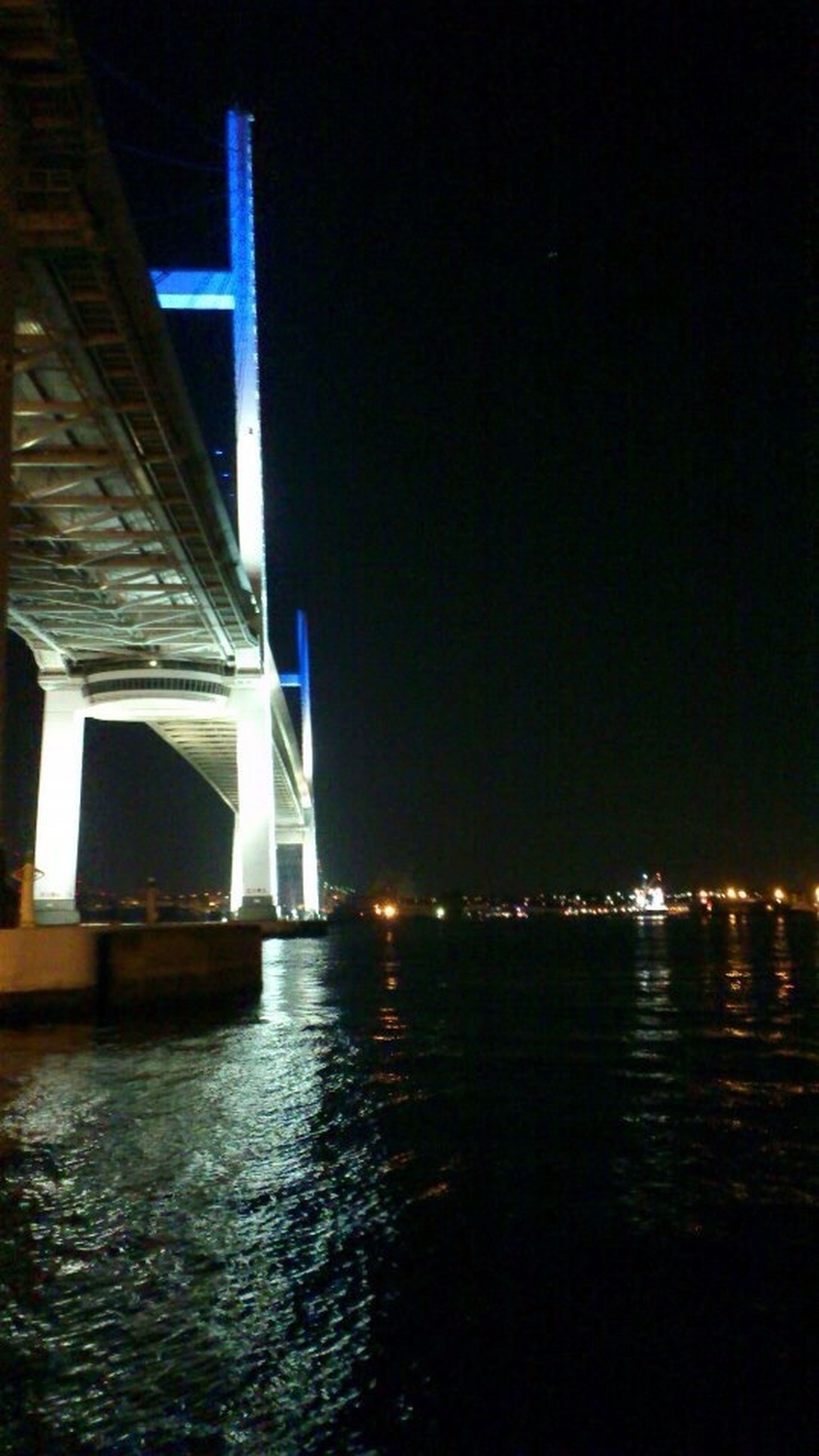 architecture, built structure, illuminated, waterfront, water, night, bridge - man made structure, connection, river, building exterior, transportation, bridge, engineering, reflection, sky, city, suspension bridge, sea, no people, outdoors