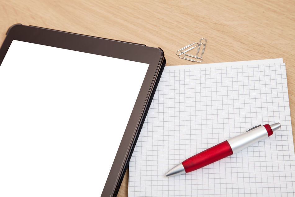 Blank tablet device next to pen and paper Blank Blank Space Business Communication Copy Space Notes Office Pen And Paper Still Life Tablet Tablet Device Technology Text Space Wireless Technology